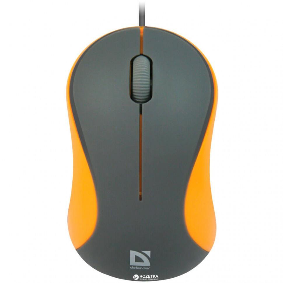 Компьютерная мышь Defender Accura MS-970 серый+оранжевый, 3 кнопки,1000dpi
