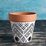 Кашпо керамиеское Терракот с узором 10*10,5см рисунок микс, фото 2
