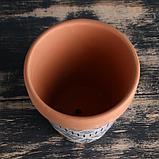 Кашпо керамиеское Терракот с узором 10*10,5см рисунок микс, фото 3