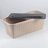 Кашпо прямоугольное «Ротанг», 40 см, с дренажем, цвет латте, фото 2