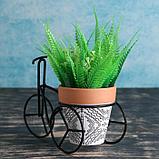 Кашпо керамическое 9*9см на мет подставке Велосипед, фото 2