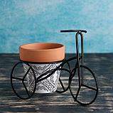 Кашпо керамическое 9*9см на мет подставке Велосипед, фото 3