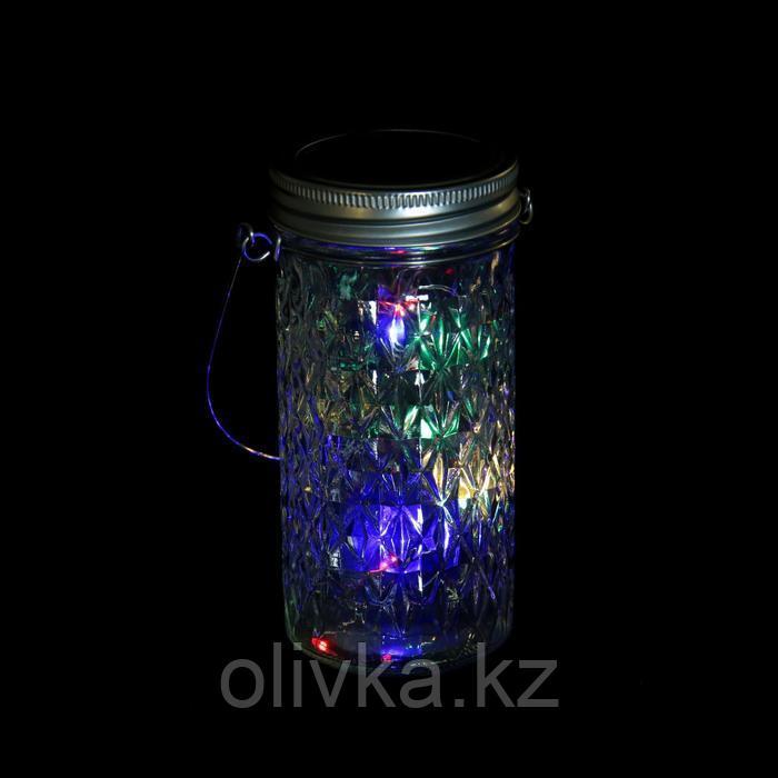 """Светильник-банка """"Граненая"""" светодиодный на солнечной батарее 10 LED, с подвесом, МУЛЬТИ"""