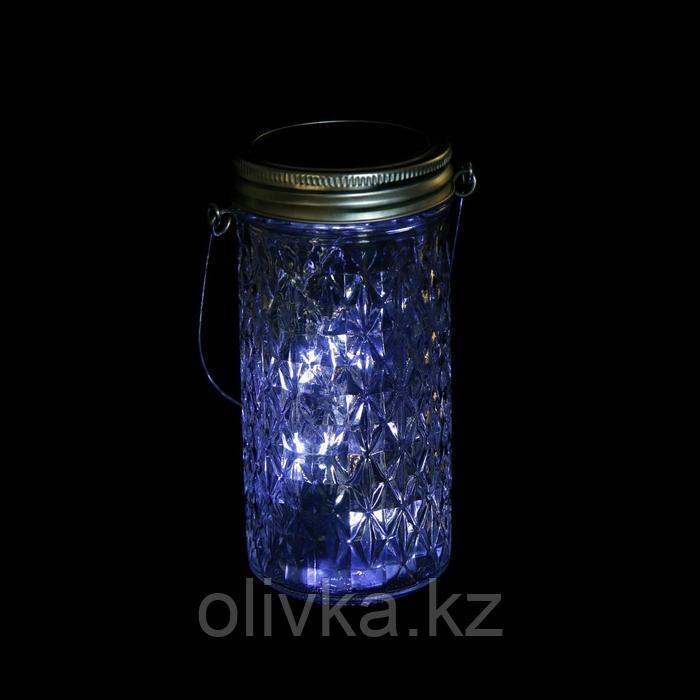 """Светильник-банка """"Граненая"""" светодиодный на солнечной батарее 15 LED, с подвесом, БЕЛЫЙ"""