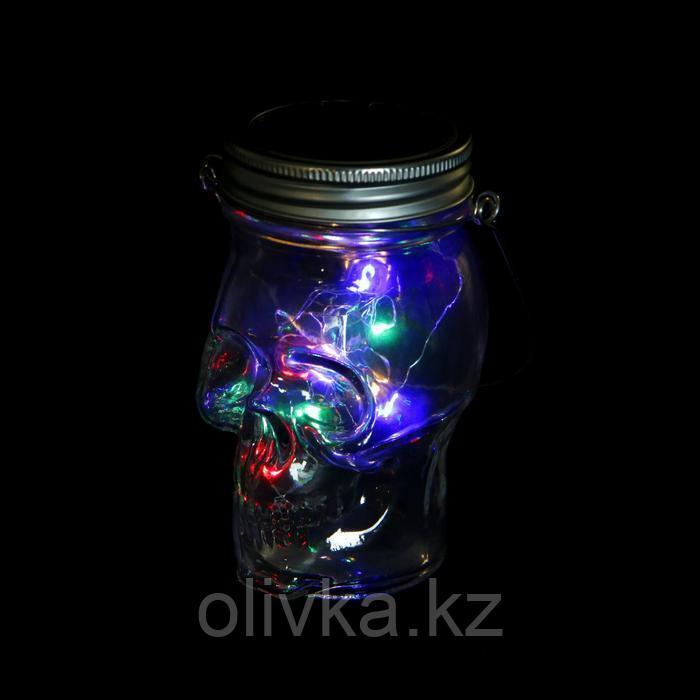 """Светильник-банка """"Череп"""" светодиодный на солнечной батарее 10 LED, с подвесом, МУЛЬТИ"""