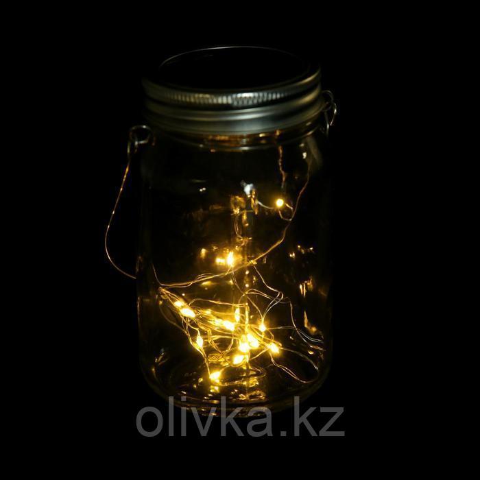"""Светильник-банка """"Прозрачная"""" светодиодный на солнечной батарее 15 LED, с подвесом, Т.БЕЛЫЙ"""