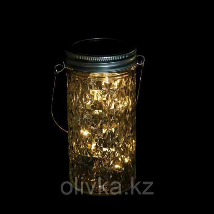 """Светильник-банка """"Граненая"""" светодиодный на солнечной батарее 20 LED, с подвесом, Т.БЕЛЫЙ"""