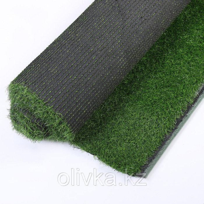Газон искусственный, ландшафтный, ворс 30 мм, 2 × 4 м, зелёный двухцветный