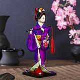 """Кукла коллекционная """"Японка в фиолетовом кимоно с флейтой"""" 25х9,5х9,5 см, фото 2"""