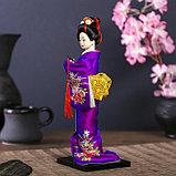 """Кукла коллекционная """"Японка в фиолетовом кимоно с флейтой"""" 25х9,5х9,5 см, фото 3"""