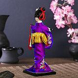 """Кукла коллекционная """"Японка в фиолетовом кимоно с флейтой"""" 25х9,5х9,5 см, фото 4"""