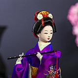 """Кукла коллекционная """"Японка в фиолетовом кимоно с флейтой"""" 25х9,5х9,5 см, фото 5"""