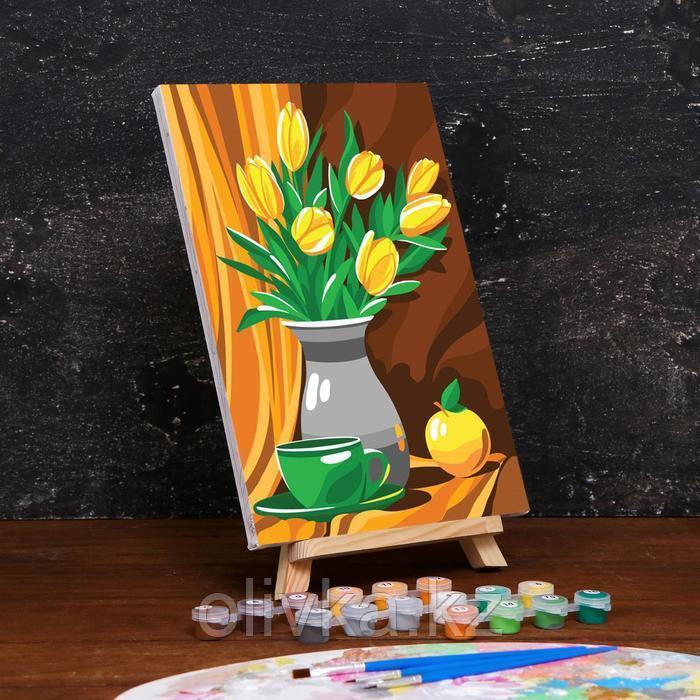 Картина по номерам на холсте с подрамником «Тюльпаны» 20×30 см