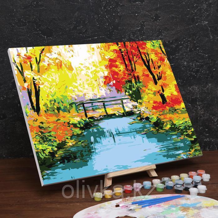 Картина по номерам на холсте с подрамником «Осенний мост» 40×50 см