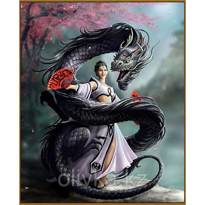 Алмазная мозаика «Девушка с драконом», 51 цвет