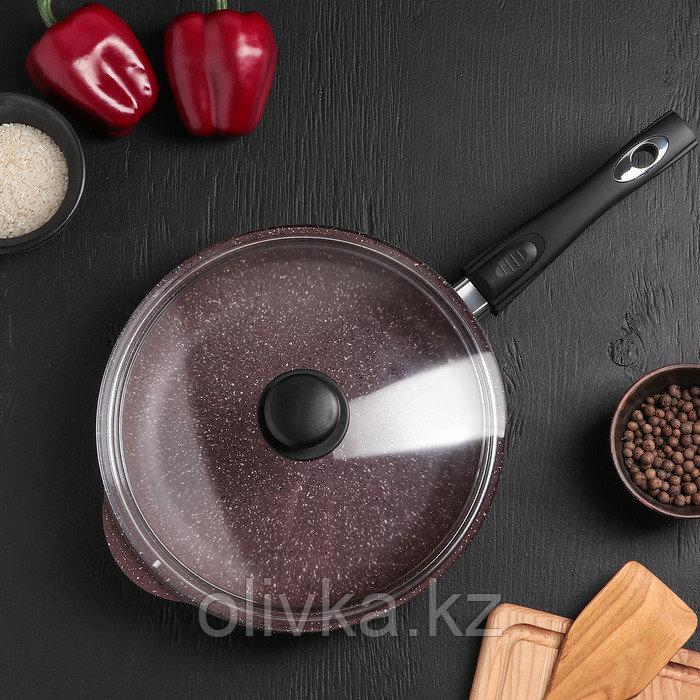 Сковородка «Шоколад», 26×5,5 см, с съёмной ручкой и стеклянной крышкой