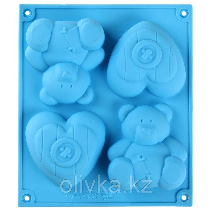 Форма для выпечки «Мишка и сердце», 4 ячейки, 17×15 см, цвет МИКС