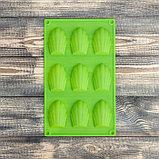 Форма для выпечки «Ракушка», 29,5×17 см, 9 ячеек (6,7×4,5×1,3 см), цвет МИКС, фото 2