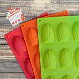 Форма для выпечки «Ракушка», 29,5×17 см, 9 ячеек (6,7×4,5×1,3 см), цвет МИКС, фото 5