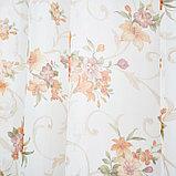 Штора вуаль печать лилии 140х145 см, цвет персик, фото 4