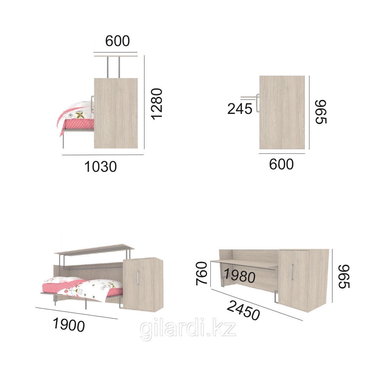 """Шкаф-кровать-стол трансформер """"Angelo"""" (ШКСГв) - фото 3"""