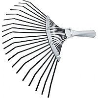 Грабли веерные стальные, 385 мм, 20 плоских зубьев, оксидированные, без черенка, Россия Сибртех