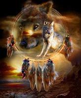 """Картина по номерам """"Ловец снов с волками"""""""