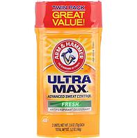 Arm & Hammer, UltraMax 146 г. 2 упаковки твердый дезодорант с антиперспирантом, для мужчин, аромат свежести