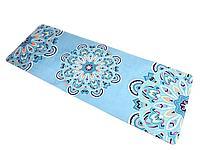 Коврик для йоги и фитнеса замшевый 183*68*0.3 см, с мандалой, голубой