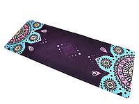 Коврик для йоги и фитнеса замшевый 183*68*0.3 см, с мандалой, фиолетовый