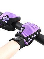 Перчатки для фитнеса женские замшевые X11, черно-фиолетовые, L