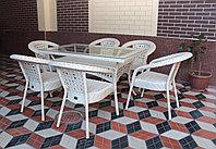 """Ротанговая мебель DEKO """"Комплект обеденный стол + кресла"""". Травертин цвет."""