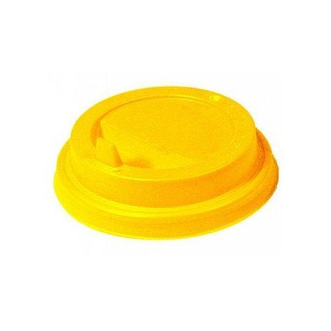 Крышка д/стаканов, д/хол./гор., d 90мм, жёлт., с клапаном, ПС, 1000 шт, фото 2