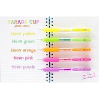 Набор гелевых автоматических ручек Zebra SARASA Clip Neon, 0,5 мм, 5 шт