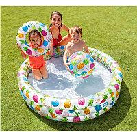 """Детский надувной бассейн """"Круглый аквариум"""" 132х28 см с кругом и мячом, Intex 59469"""