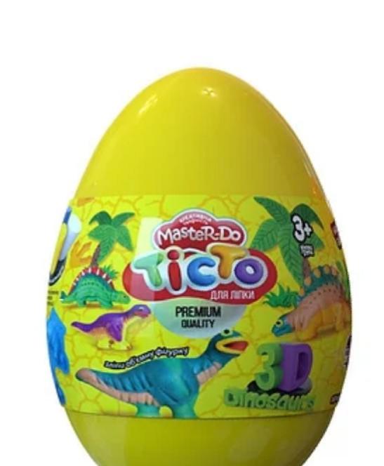 "Набор креативного творчества Тесто для лепки Master Do ""Dinosaurs Eggs Желтое"" (12 шт.)"