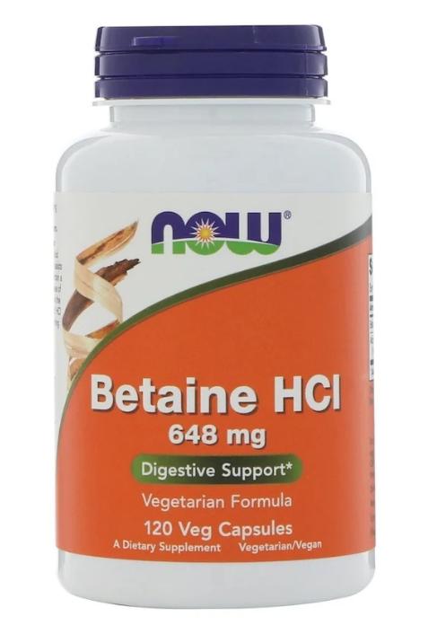 Now Foods, Бетаина гидрохлорид, 648 мг, 120 растительных капсул