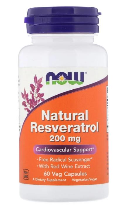 Now Foods, Натуральный Ресвератрол, 200 мг, 60 растительных капсул