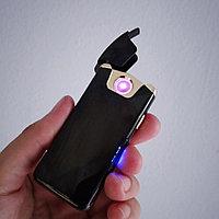 Электронная индукционная вращающаяся USB зажигалка в подарочной коробке, чёрная., фото 1