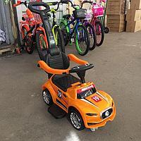 Каталка-машинка с родительской ручкой Super Car оранжевый, фото 1