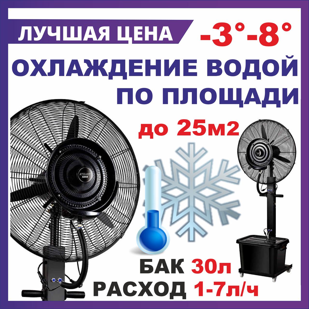 Вентилятор с водяным распылением  большой MIRR D-65см  Емкость 40л , туманообразование для кафе, увлажнитель.