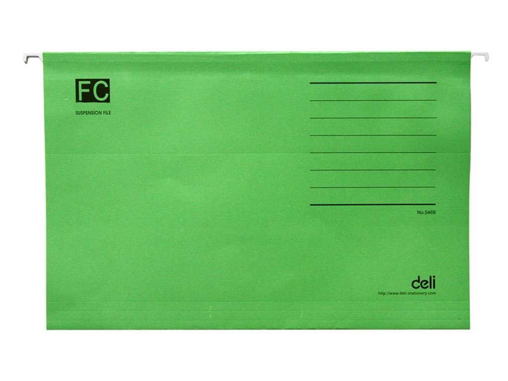 Папка подвесная Deli, А4+, зеленая
