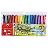 Koh-I-Noor Фломастеры смываемые Школьные, с трехгранным держателем, 30 цветов (пластик)