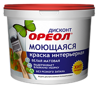 Краска водорастворимая ВДАК интерьерная моющаяся, 1,5 кг, Ореол Дисконт