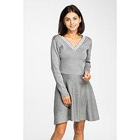 Платье вязаное V-вырез, размер 42, цвет серый