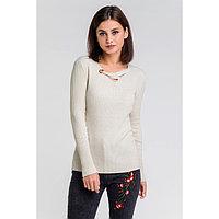 Пуловер с люрексом шнуровка спереди, размер 42, цвет бежевый