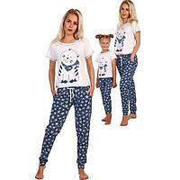 Комплект женский (футболка, брюки) «Матроскин», цвет белый/синий, размер 46