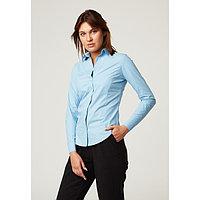Рубашка женская с рельефами, размер 40, голубой, хлопок 100%