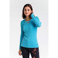Пуловер с люрексом шнуровка спереди, размер 42, цвет голубой