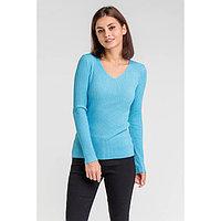 Пуловер с люрексом шнуровка сзади, размер 42, цвет голубой
